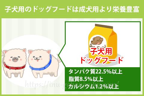 子犬用ドッグフードはタンパク質や脂質がたっぷり