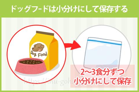 しかしドッグフードの酸化を抑えるには、ドッグフードを袋のまま保存せず、数日分に小分けにして保存することをおすすめします。