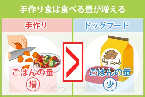 手作りご飯はドッグフードより量が多くなる