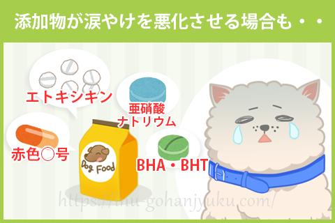 【ポイント③】添加物が原因で涙やけが悪化する