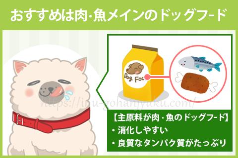 そこで毛並みの改善におすすめなのが、主原料に肉か魚を使用したドッグフードです。
