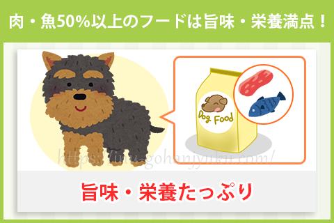 【ポイント1】肉50%以上のフードは旨味・栄養満点!