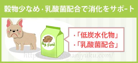 【ポイント2】穀物控えめ・乳酸菌で腸内環境を整える